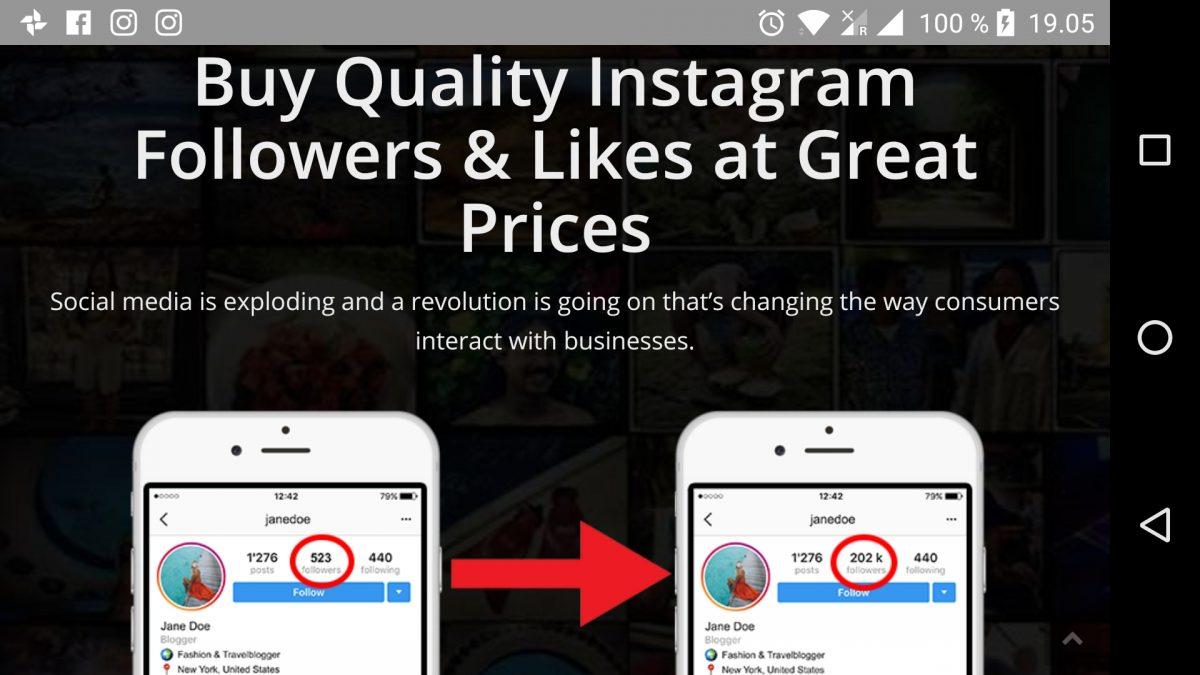 Instagramista voi ostaa itselleen seuraajia